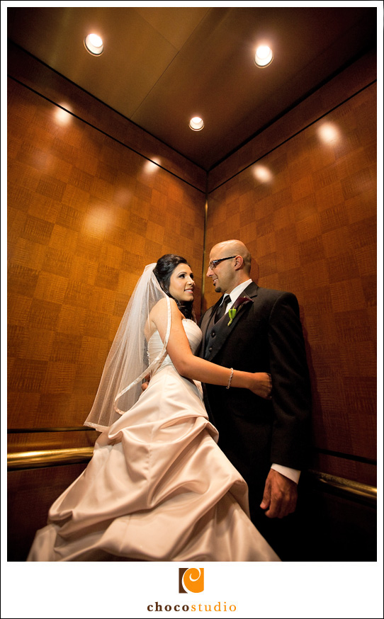 Fremont Marriott Hotel Elevator Wedding Photo