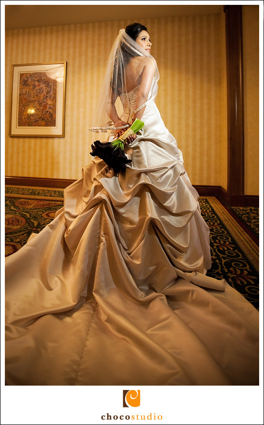 Portrait of Bride in the hallways of the Fremont Marriott