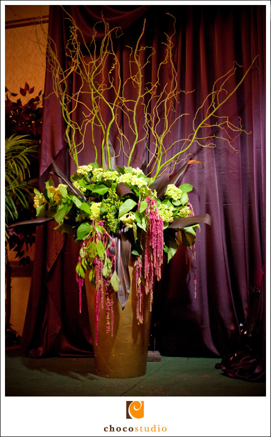 Giant vase with flowers at wedding