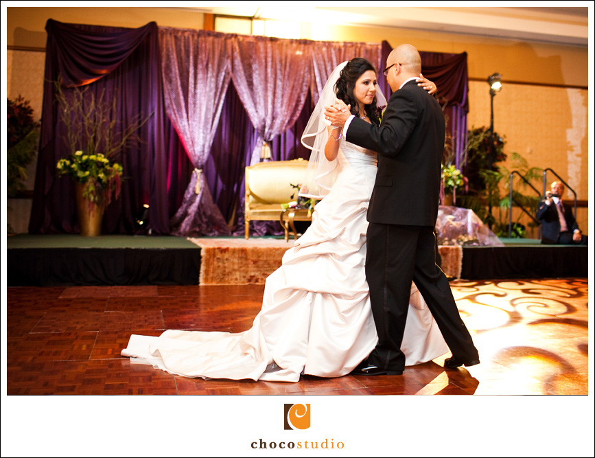 Aref and Maira, Bride and Groom dancing at Fremont Marriott