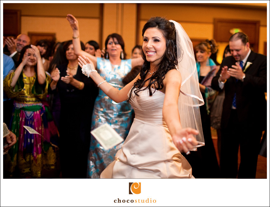bride and groom dancing at Afghan wedding reception at Fremont Marriott