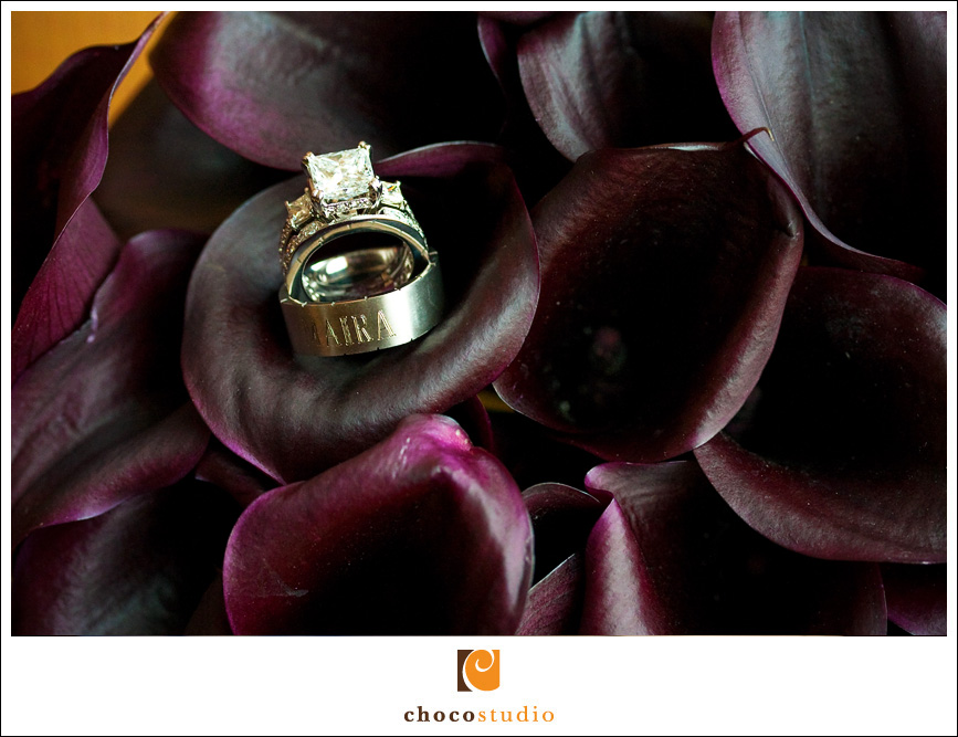 Calla lilies and wedding rings