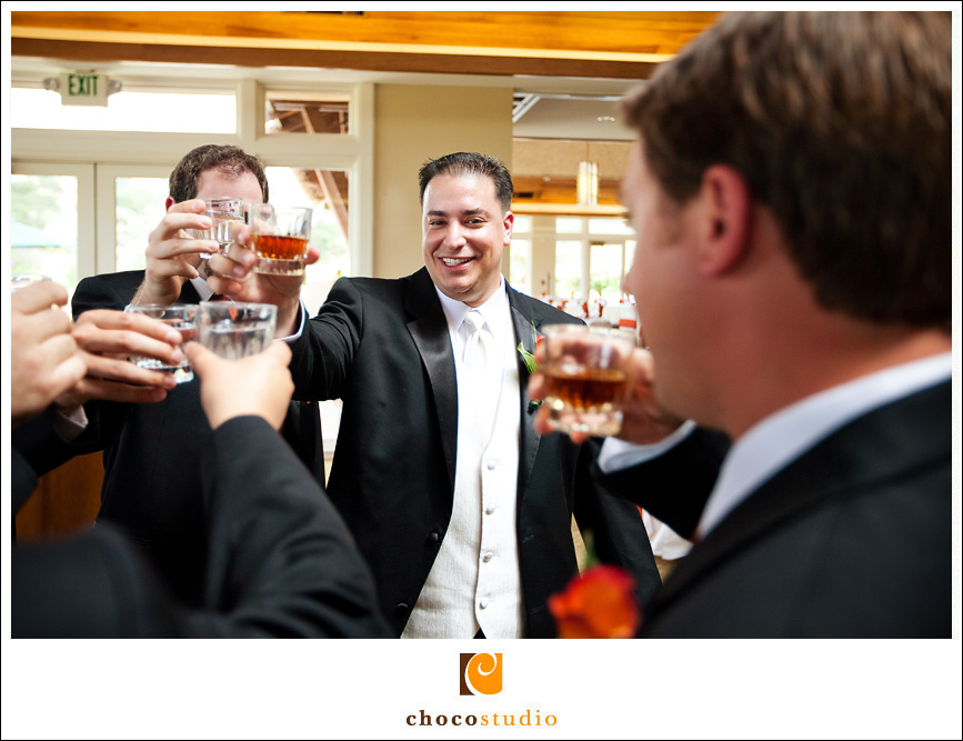 Groom Toasting with Groomsmen at Cinnabar Hills Golf Club