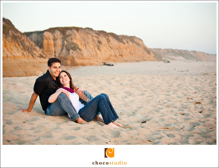 Lounging around at Half Moon Bay State Beach for a Photo Session