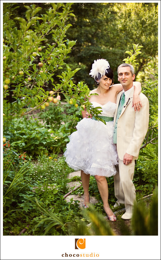 Bride and Groom in the Gardens of the Ralston White Retreat on Wedding Day.