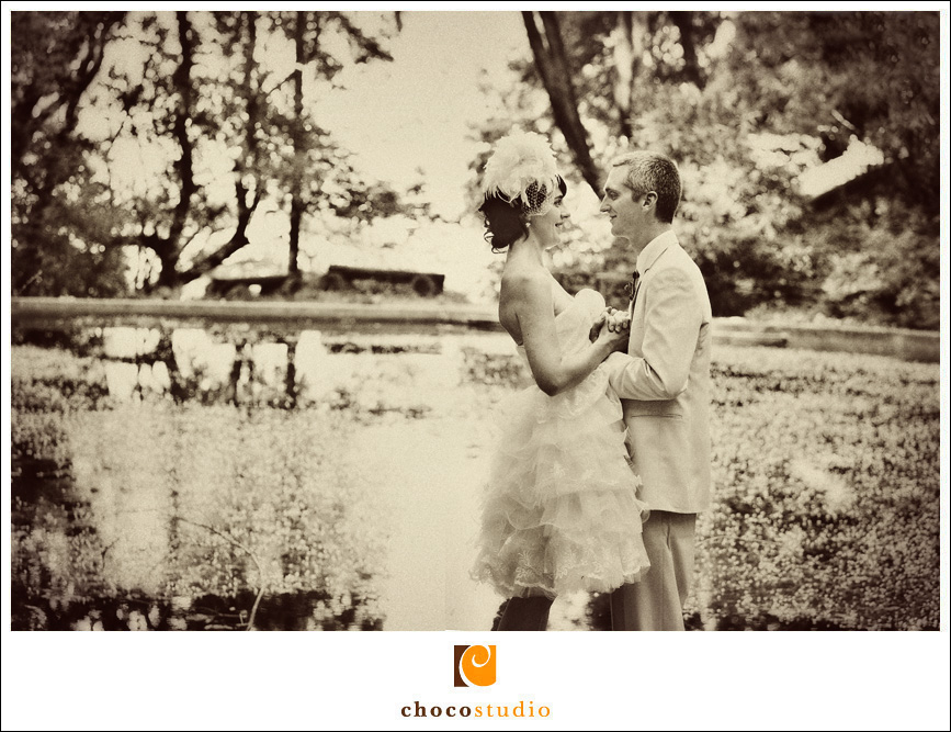 Photo of Bride and Groom at Pond in Mill Valley