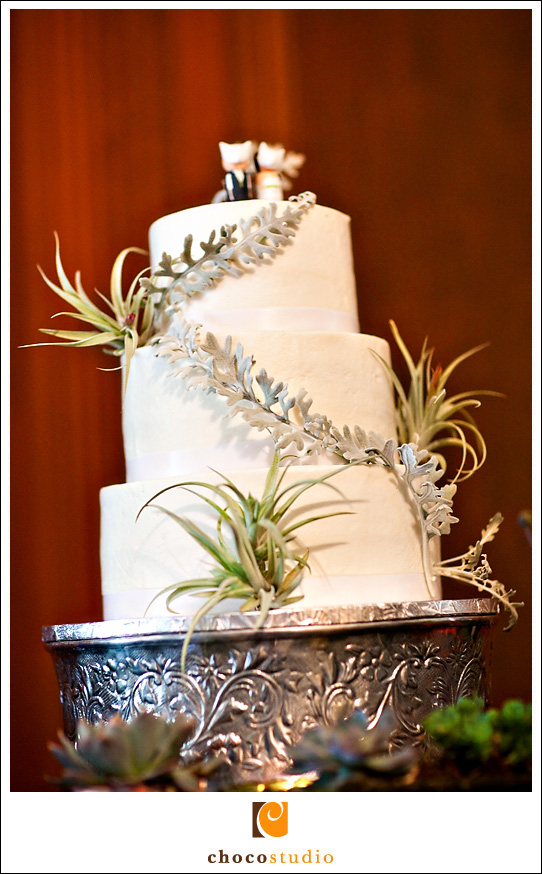 Wedding cake with custom decorations and cake stand
