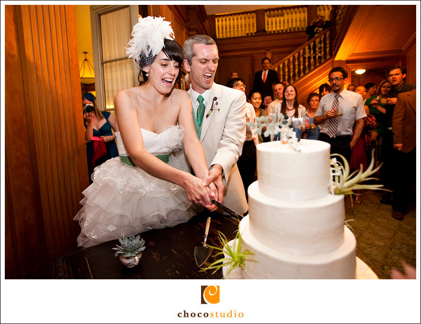 Cake cutting during the reception