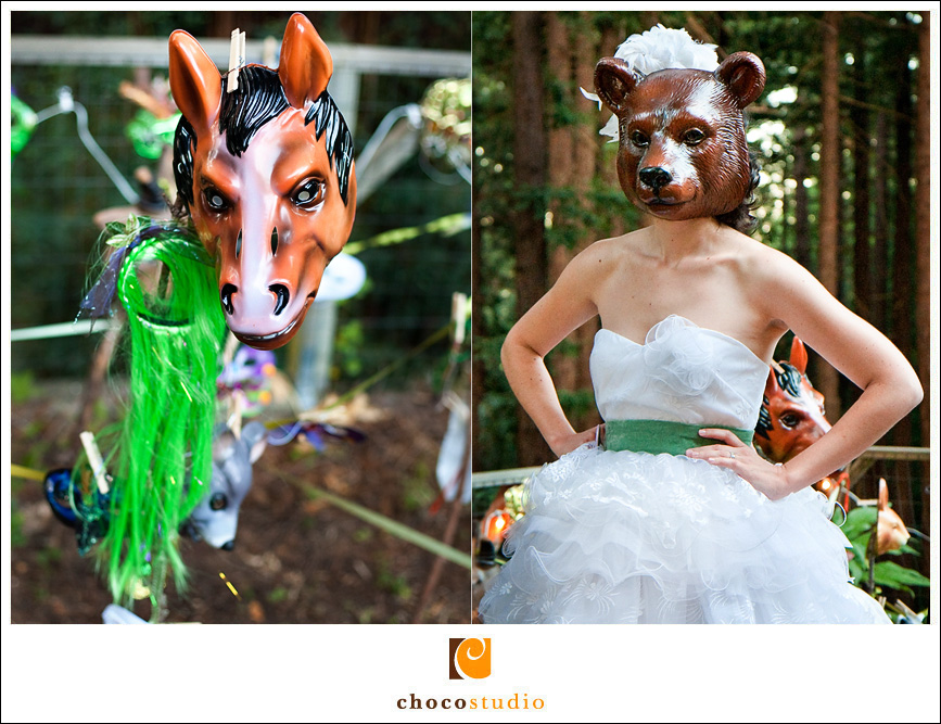 Bride in a bear mask at an outdoor wedding