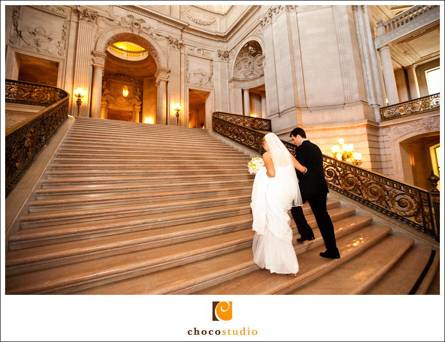 San Francisco City Hall Wedding Stairway Walking
