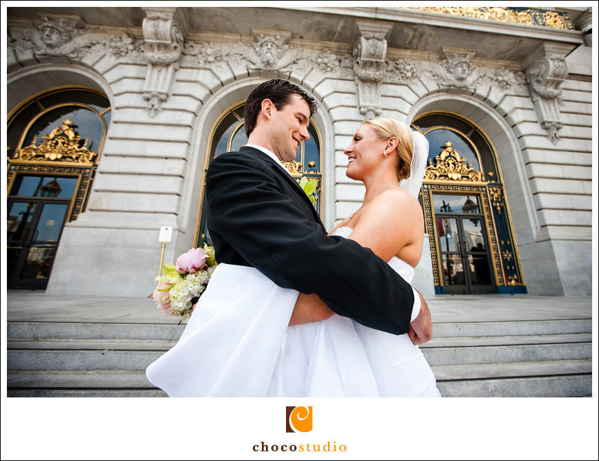 In Front of San Francisco City Hall Wedding Photo