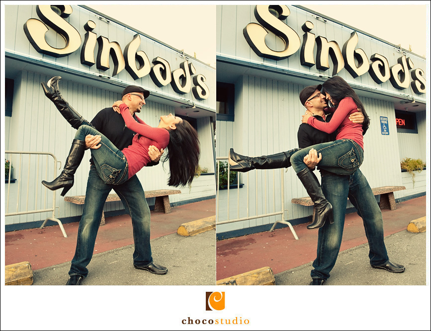 Engagement photo in front of Sinbad's in SF