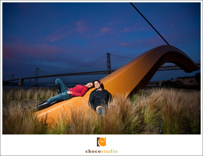 Bow and Arrow Engagement photo on the waterfront in SF