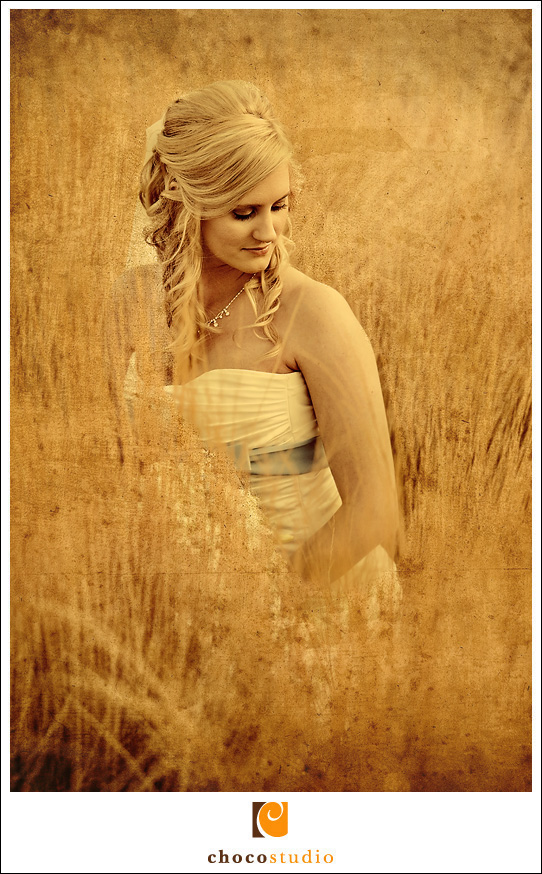 Vintage inspired photo of a bride at Cornerstone Gardens