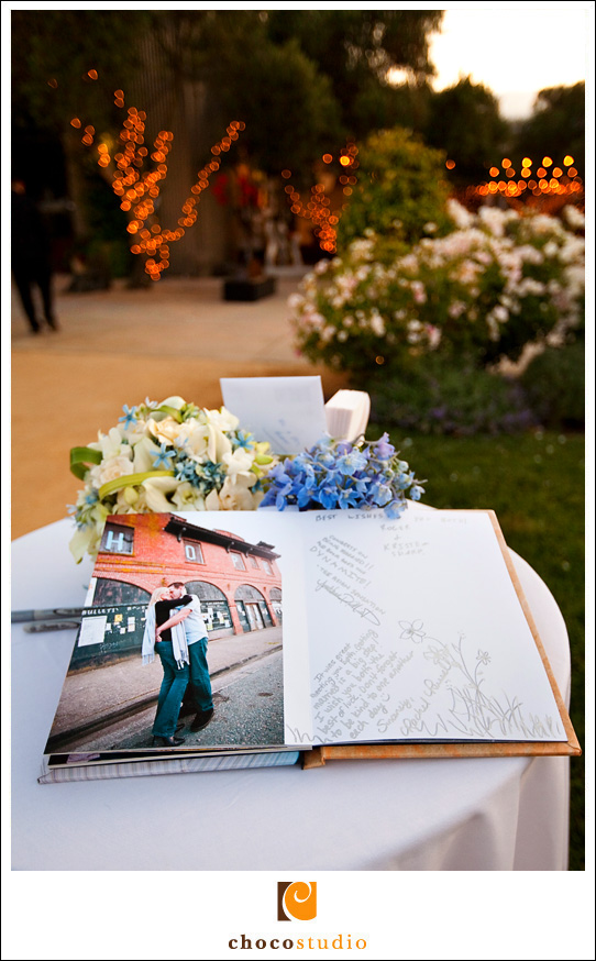 Sign-in guestbook with photos from engagement session
