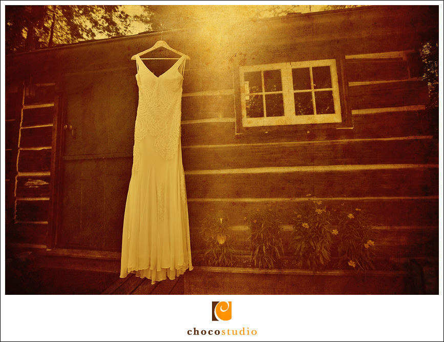 Dress hanging outside a cabin style house in Woodside