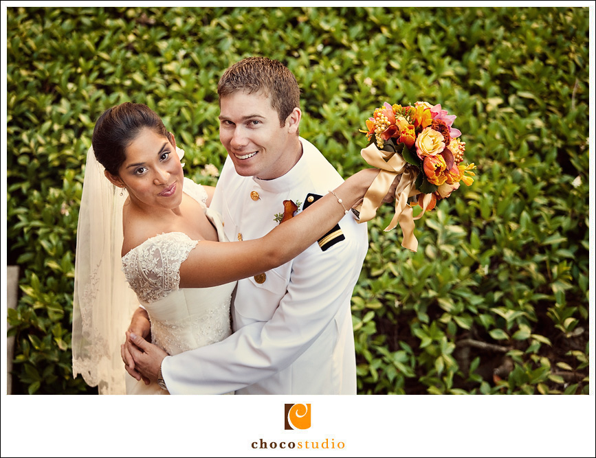 Bride and groom photo at Stanford University