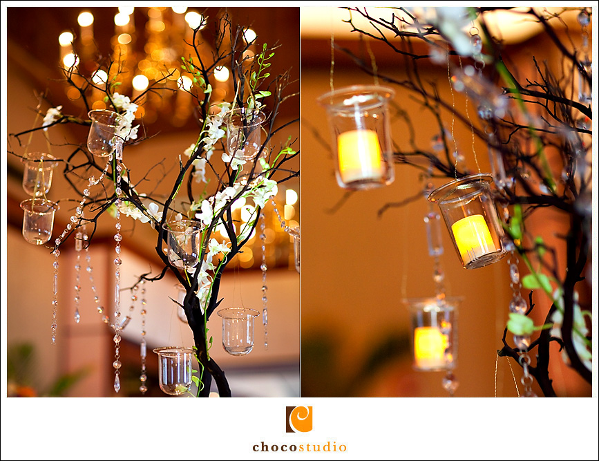 Centerpiece tree with candles at Dinah's Garden Hotel