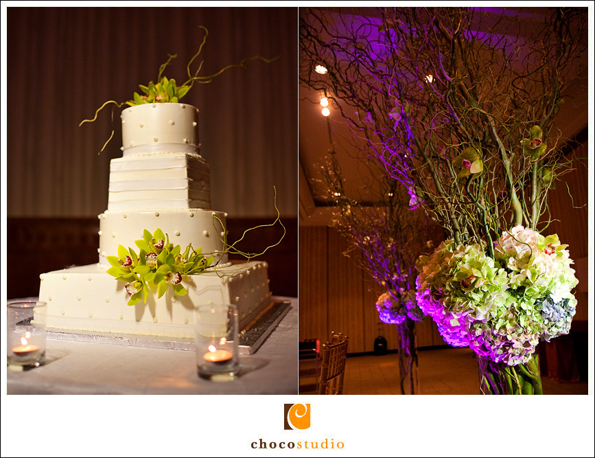 Cake and flowers at a wedding reception