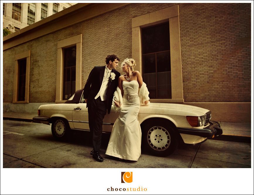 Vintage Style Portrait of Bride and Groom in San Francisco