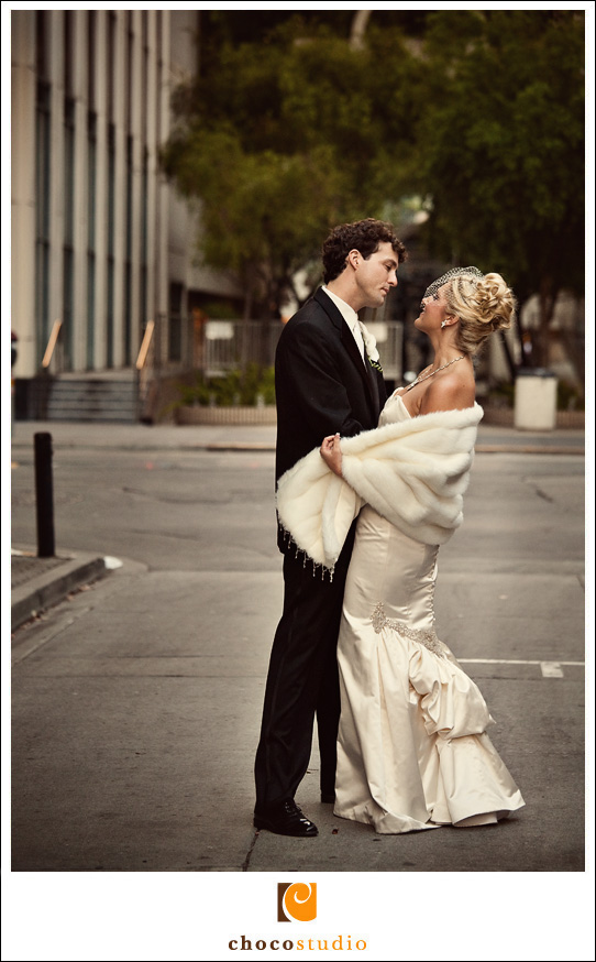 On Downtown SF Streets, Wedding Photo
