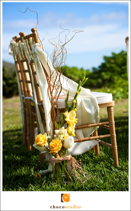 Detail of Flowers and Chairs at a Wedding Ceremony