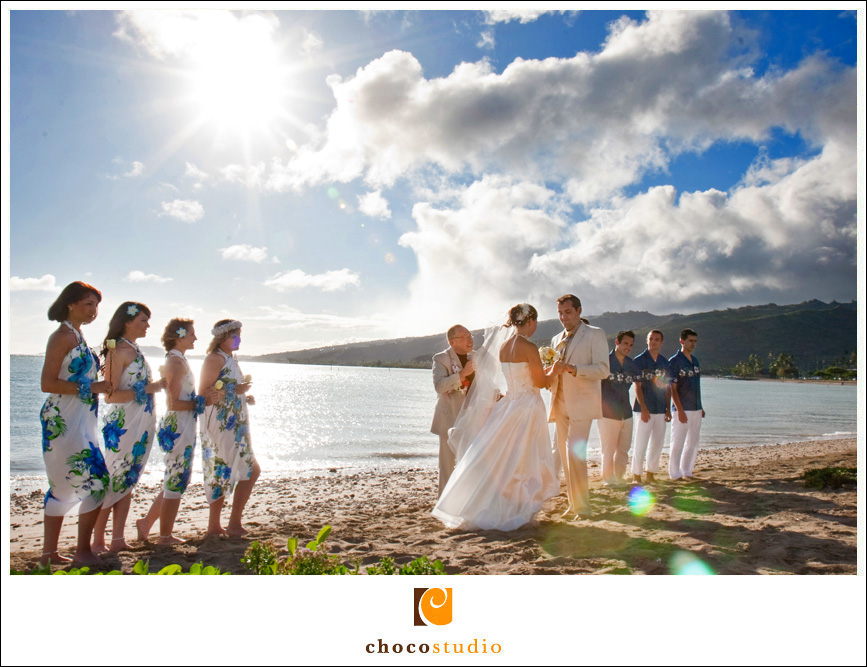 Bride and Groom's wedding ceremony in Hawaii