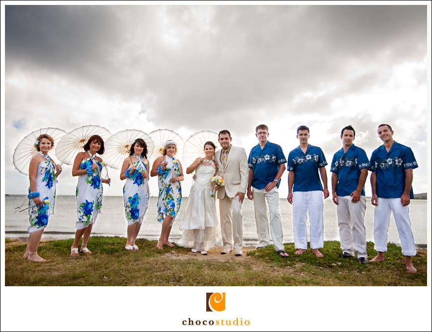 Bridal Party Photo in Hawaii on the Beach