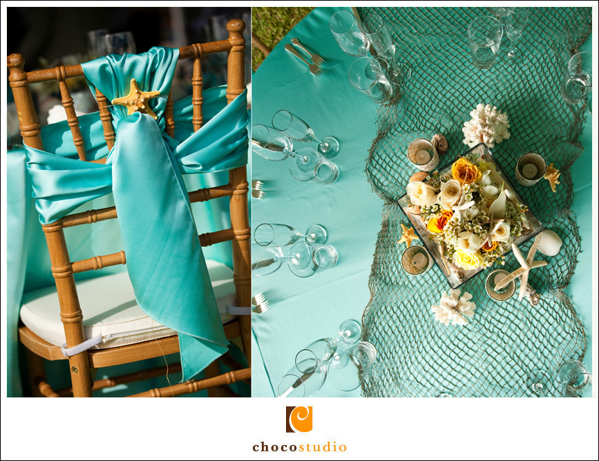 Teal Wedding Colors at a reception in Oahu
