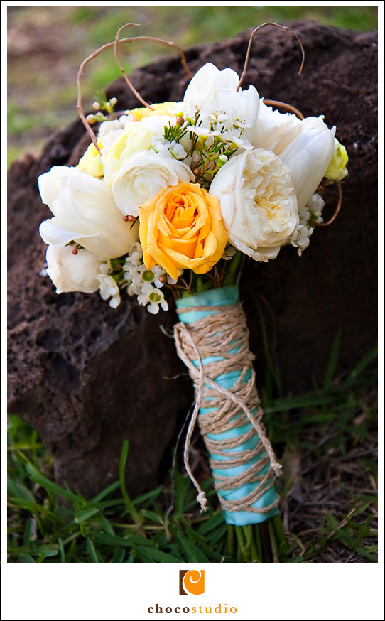Roses Tulips and Orchids Bouquet with Teal Color and Twine Rope Photo