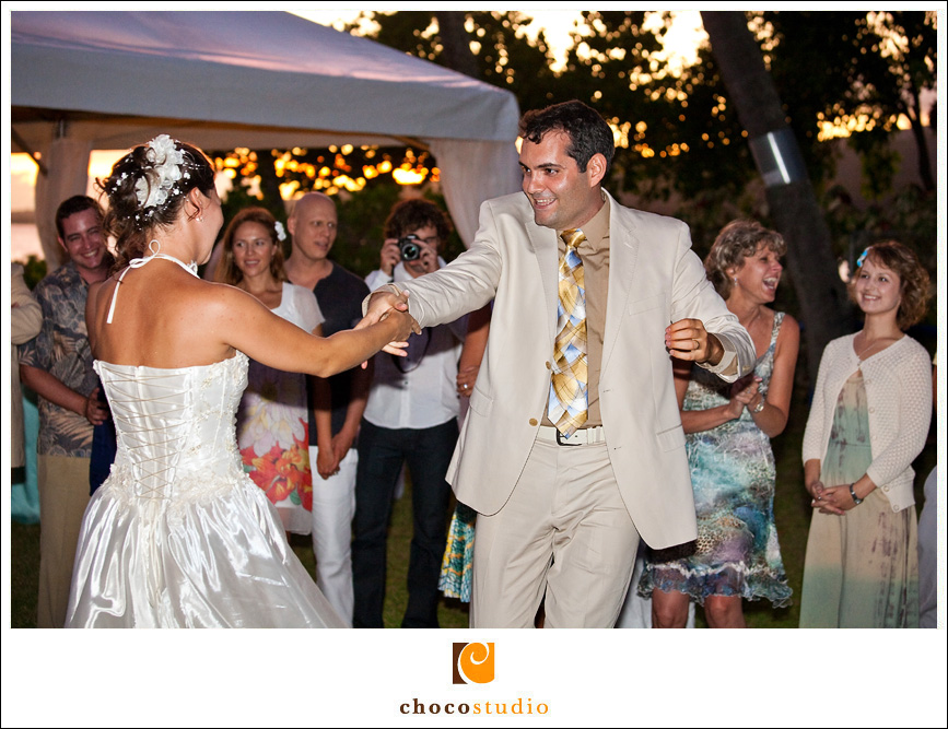 Dancing at a wedding reception in Hawaii at a private villa