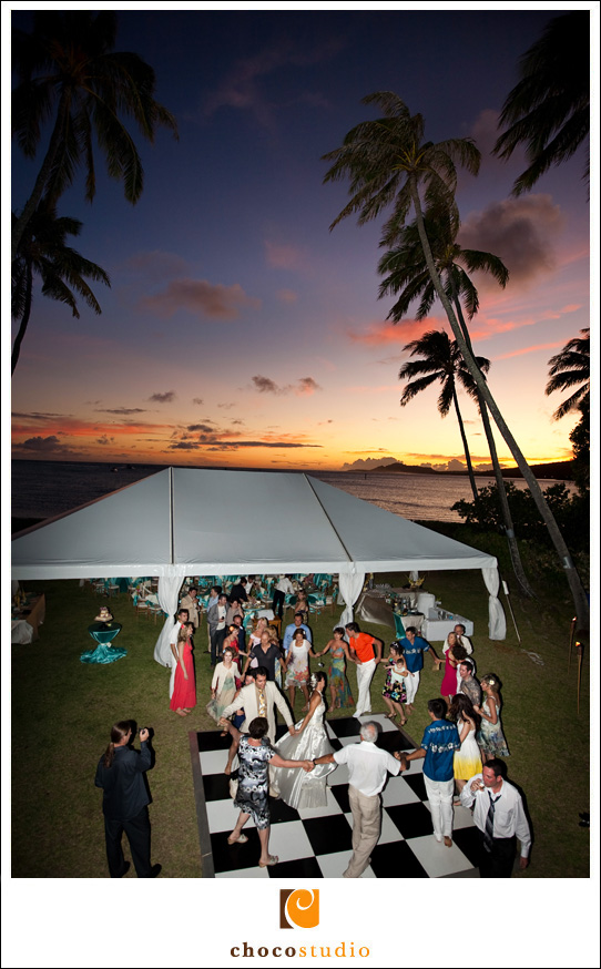 Tent at a wedding reception at a villa in Hawaii