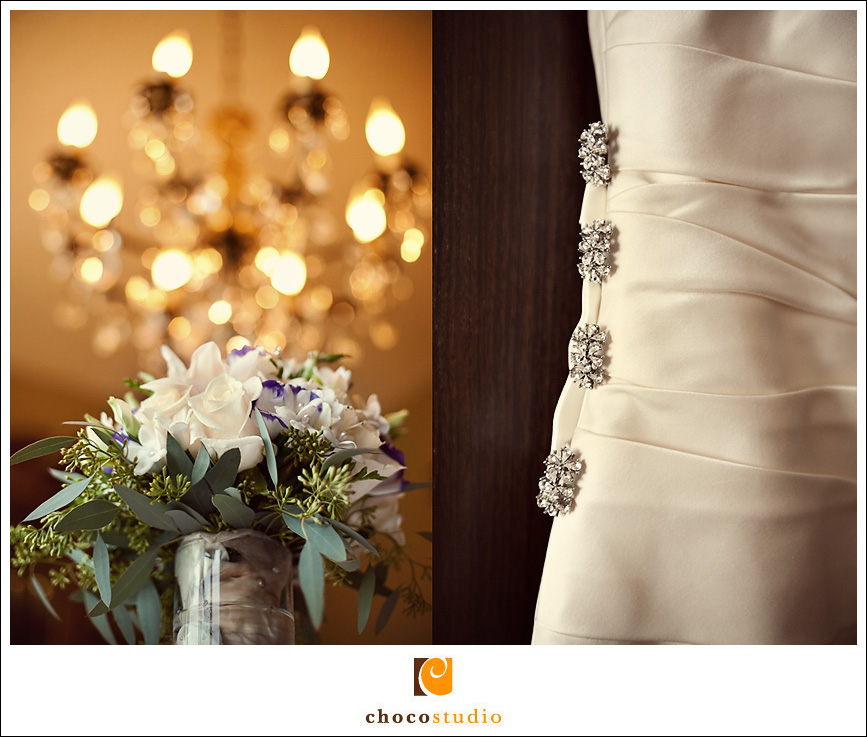 Bouquet and detail of the wedding dress