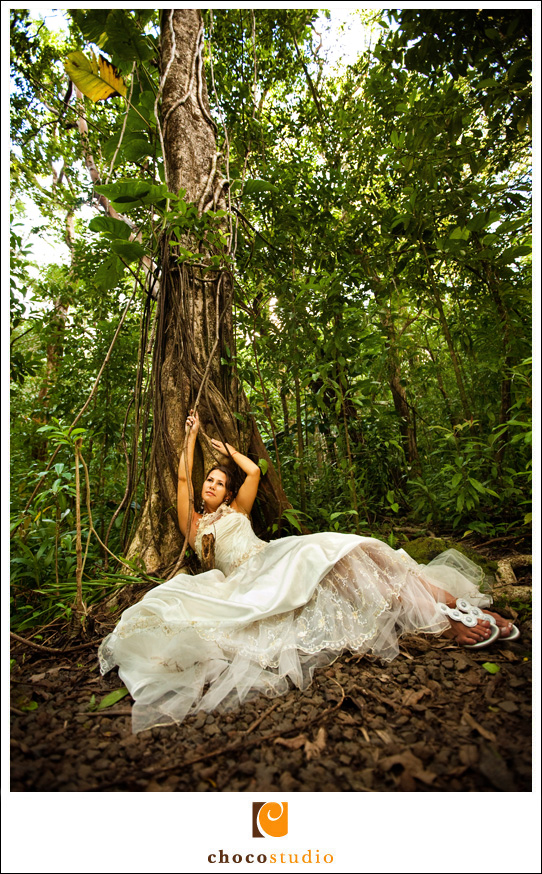 Rain-forest scene with bride photo