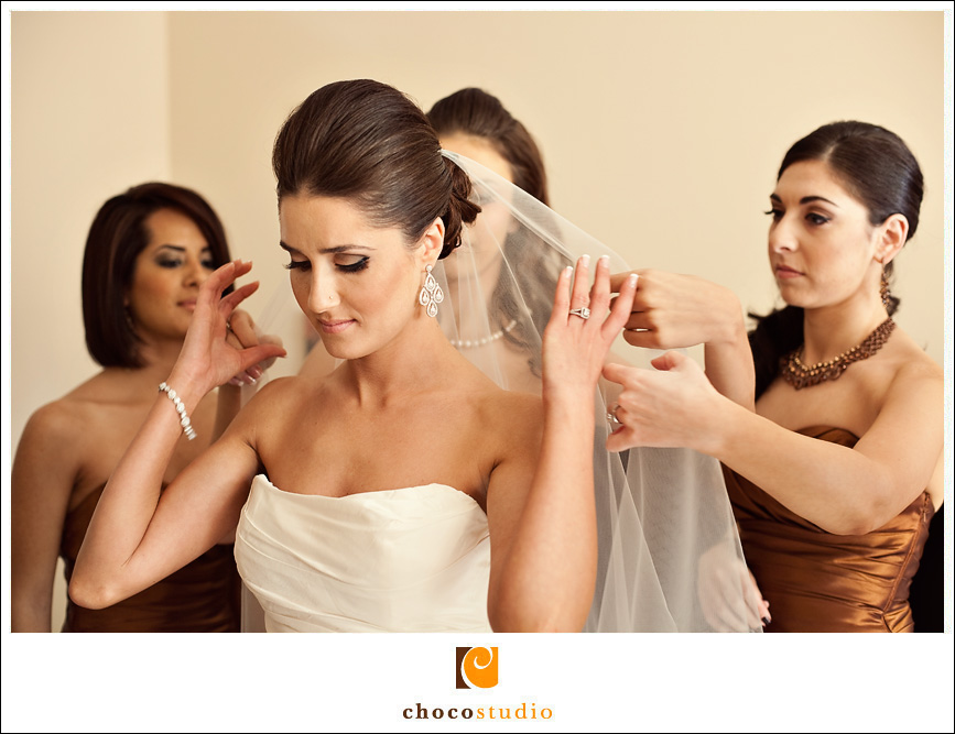 Bridal preparations with bridesmaids