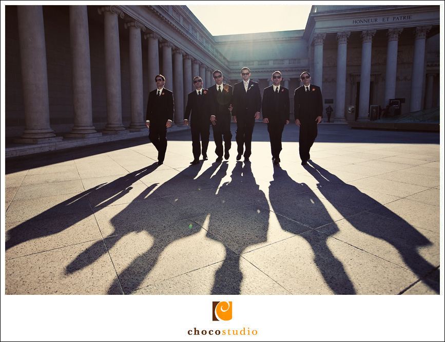 Groomsmen shot with shadows at the Legion of Honor