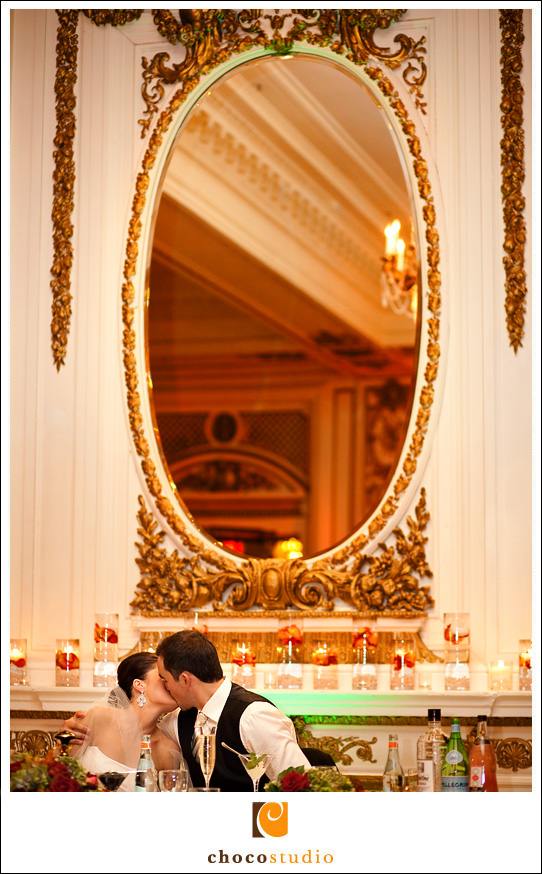 Sharing a kiss inside the Grand Ballroom of the Palace