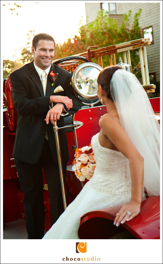 Fire Engine Wedding Photo in San Mateo