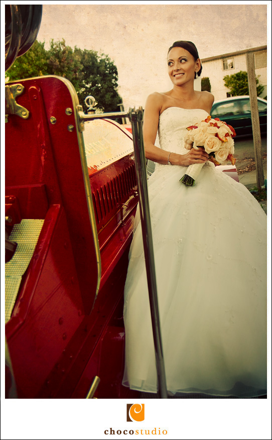 Bride on the Fire Truck