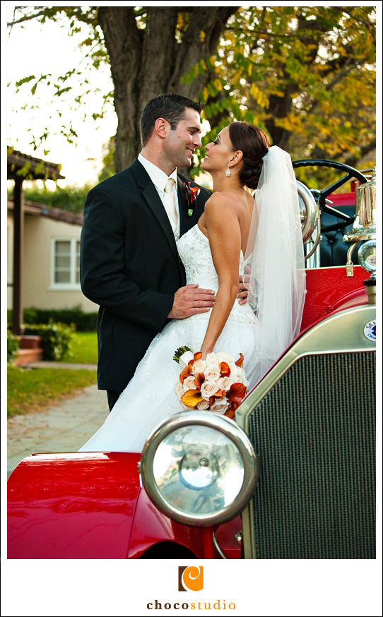 Bride and Groom Portrait on the Fire Engine Truck