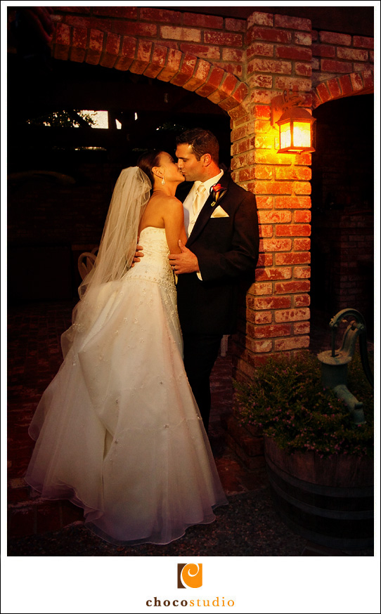 Low light photo of Bride and Groom