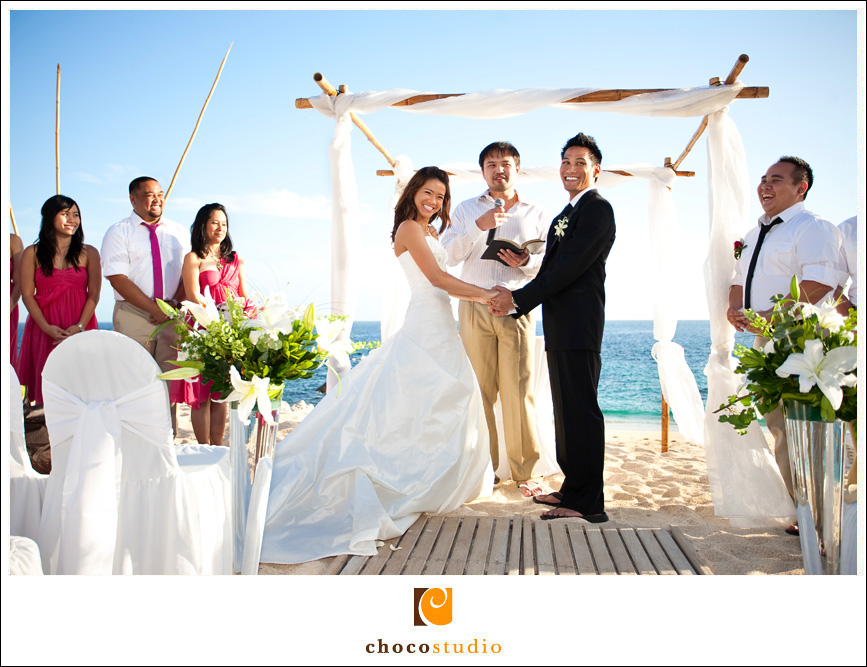 Beach Ceremony shot by Los Cabos Wedding Photographers
