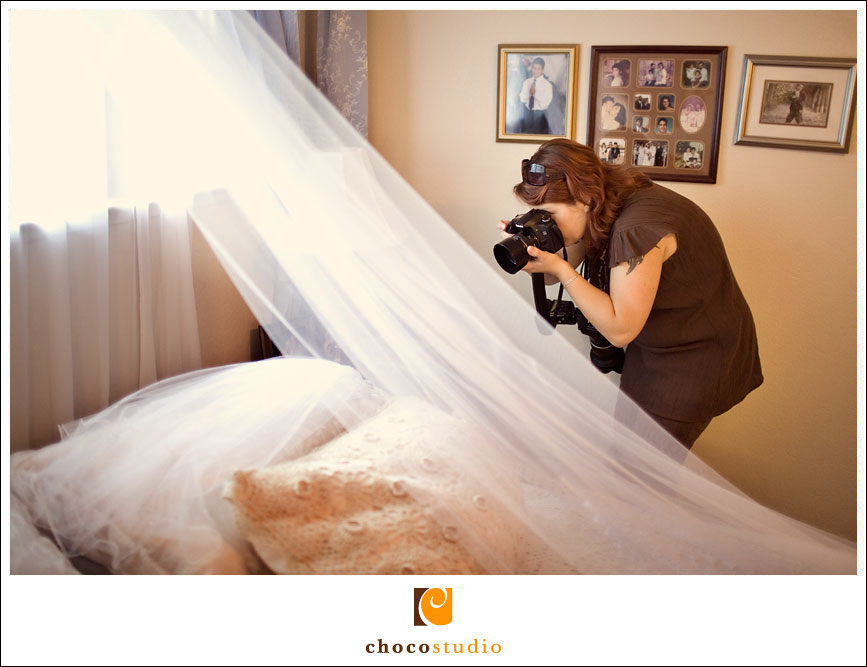Wedding photographer working indoors