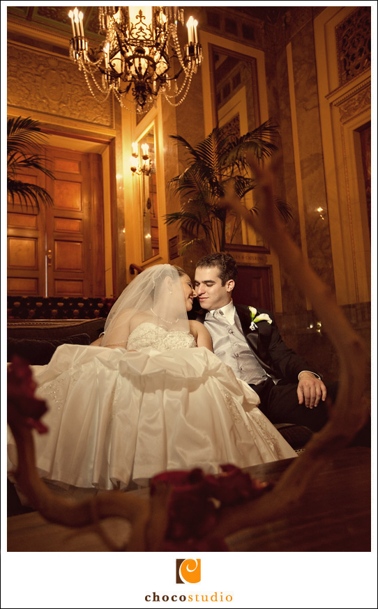 Bride and groom portrait at Mark Hopkins Hotel
