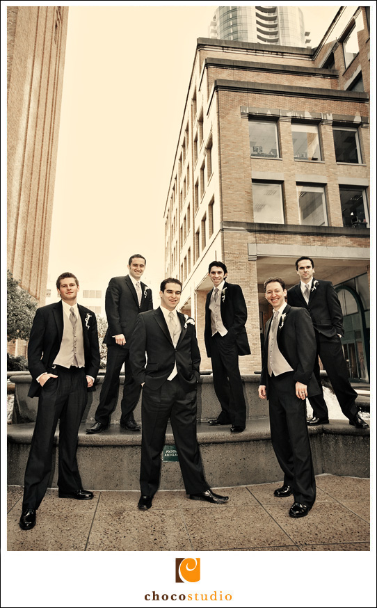 Creative groomsmen photo by Mark Hopkins Hotel