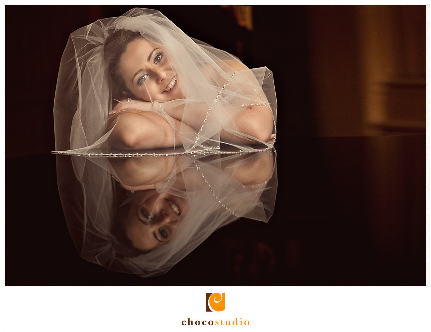 Reflection of bride on her wedding day