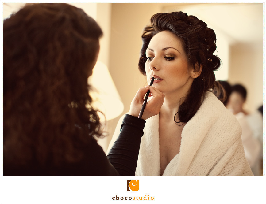 bride getting ready at Campton Hotel