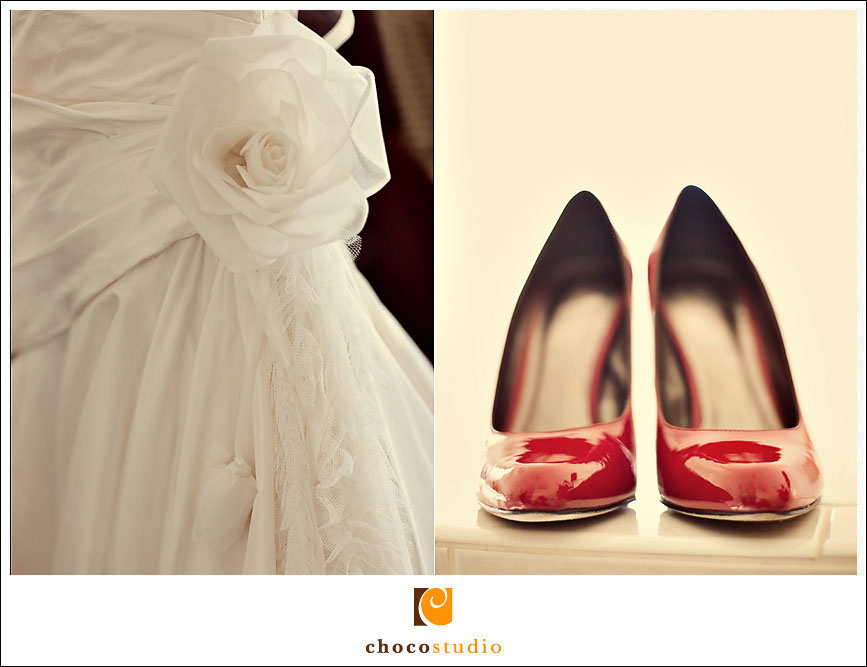Red bridal shoes and wedding dress