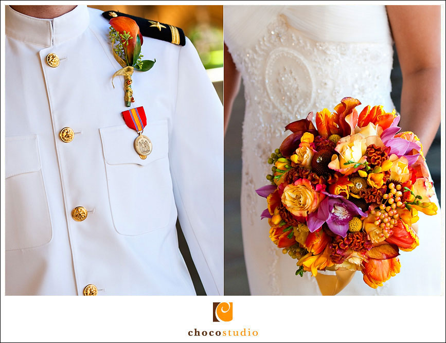 Colorful orange and red wedding bouquet