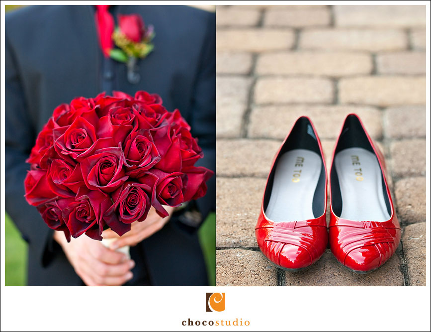 Groom with Red Bouquet at Palm Event Center